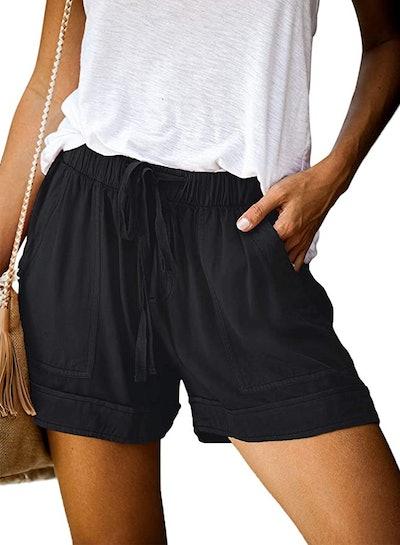 Acelitt Comfy Drawstring Waist Pocketed Shorts