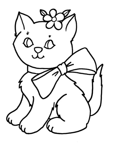 Cat Coloring Page; cat with a big bow on its neck and flower on its head