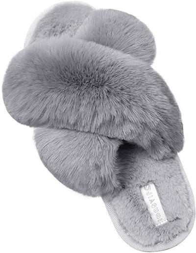 JIASUQI Cross Open Toe Fuzzy Slippers