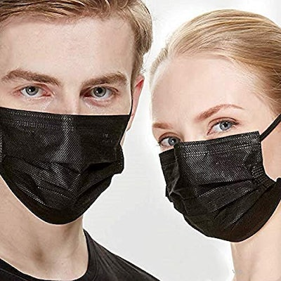NNPCBT 3 Ply Black Disposable Face Mask