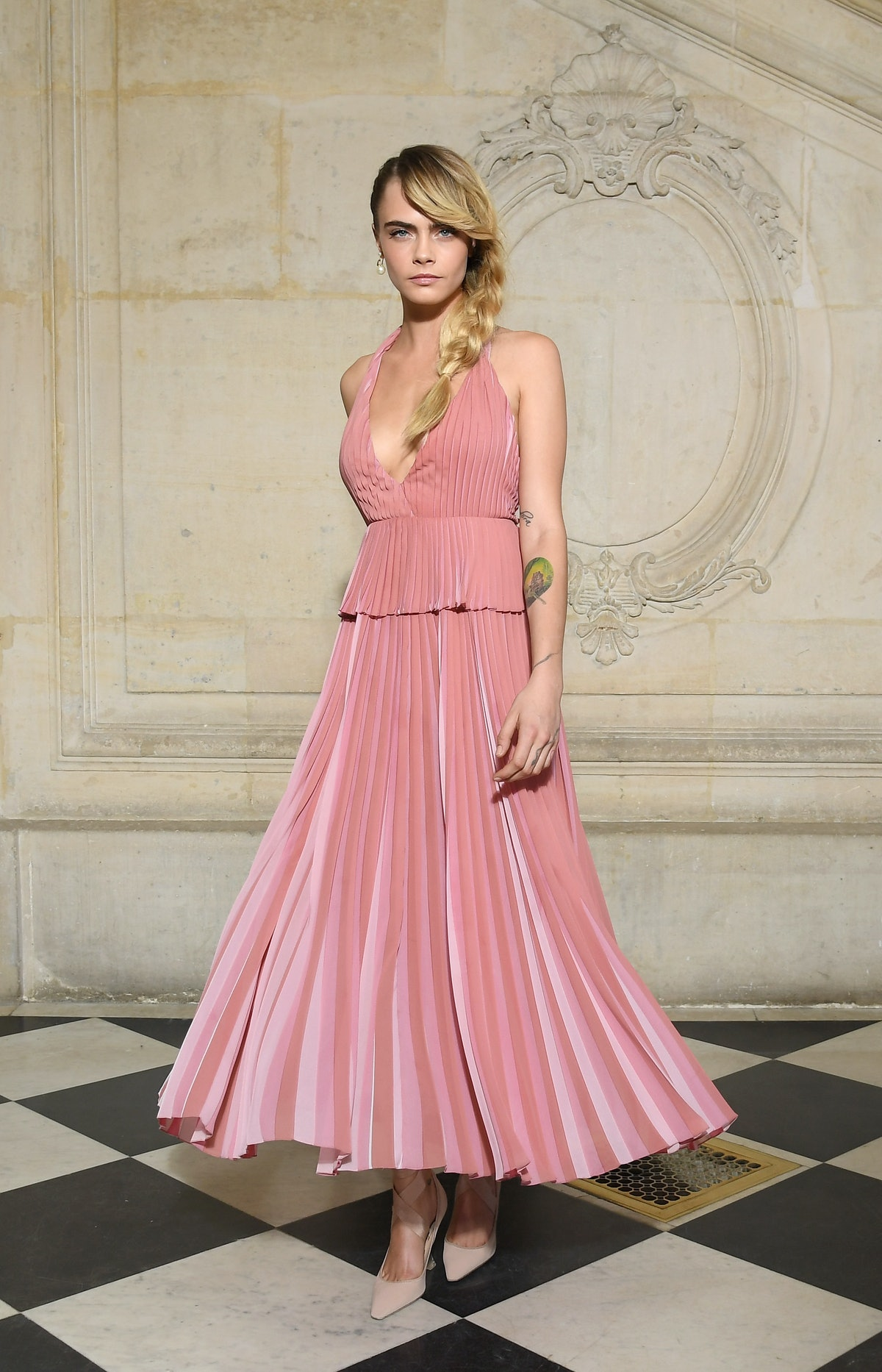 The model Cara D. in a pink Dior gown.