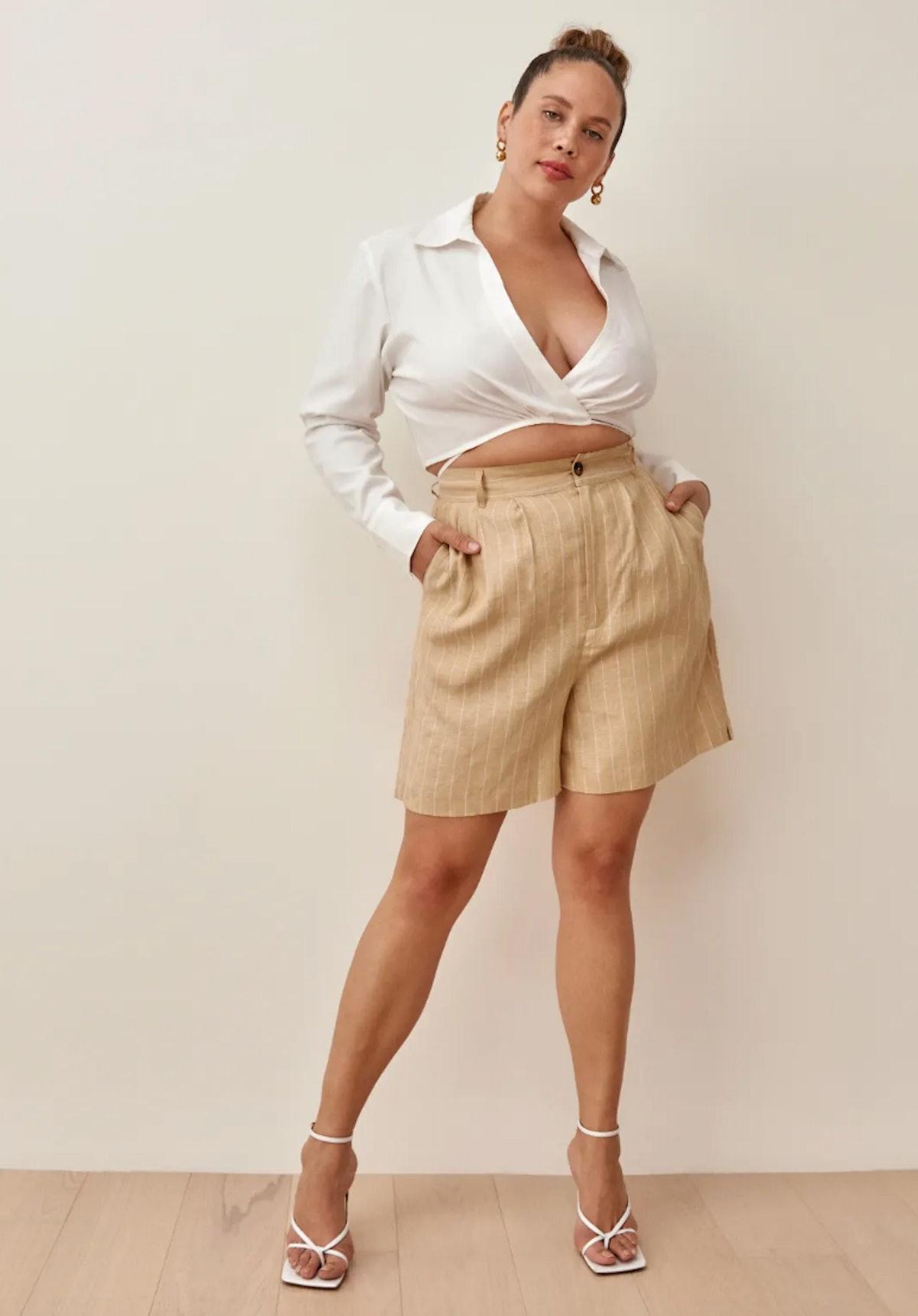 Reformation's Bello Linen Shorts in paz stripe.