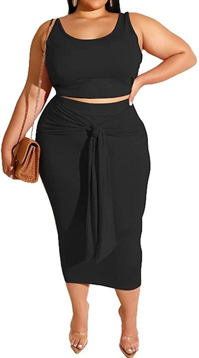 MRSFITOK Crop Top and Midi Skirt Plus Size Set (2-Piece)