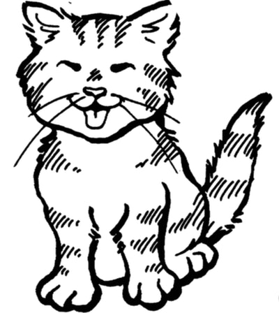 Cat Coloring Page; kitten with its eyes closed, smiling/meowing