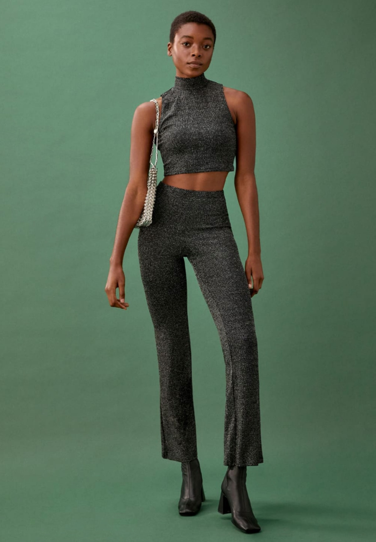Reformation Griffith Two Piece in silver sparkle.