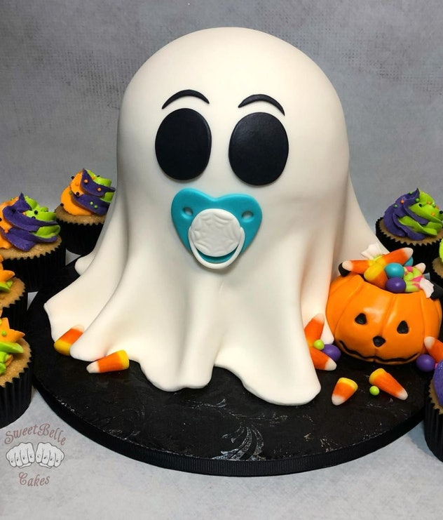 Cake, ghost with a pacifier.