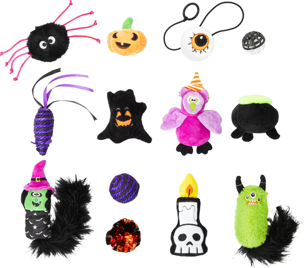 Chewy's cat Halloween advent calendar is filled with 13 unique toys for your feline, including a fuz...