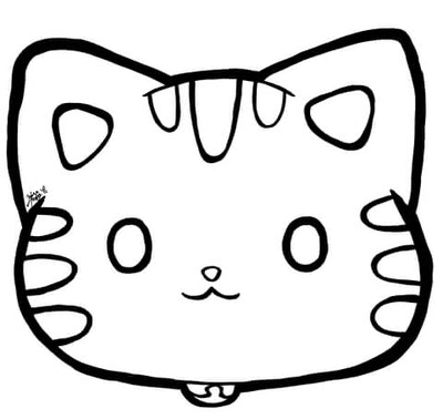 Cat coloring page; cartoon cat face close-up