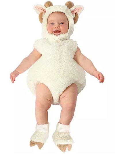 Baby wearing a ram costume