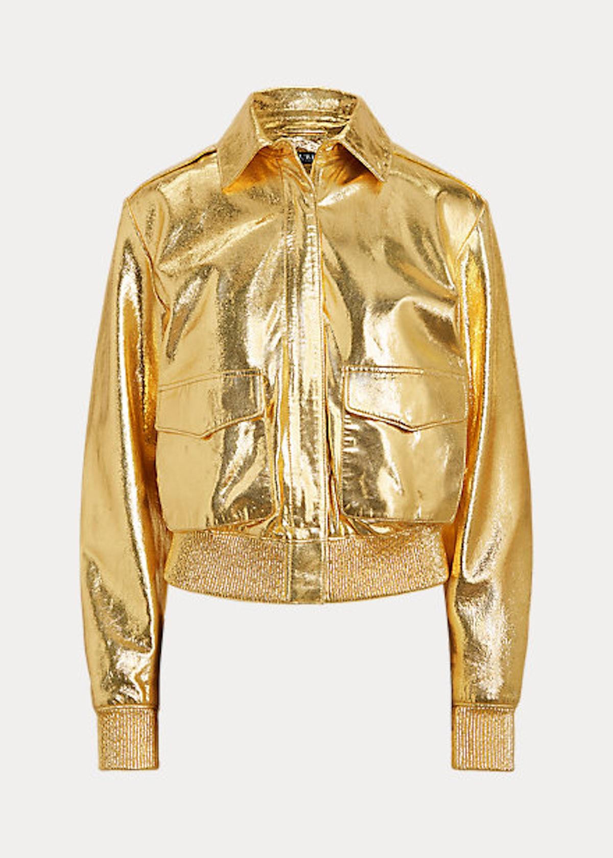 Metallic Leather Bomber Jacket from Lauren Ralph Lauren.
