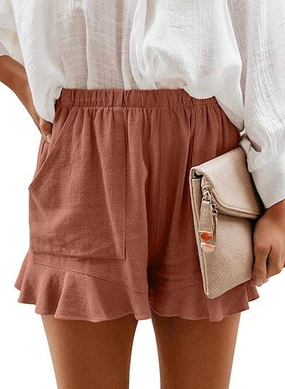HUUSA Drawstring Ruffle Hem Shorts