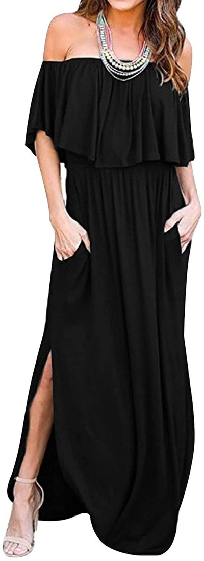 LILBETTER Off The Shoulder Ruffle Maxi Dress