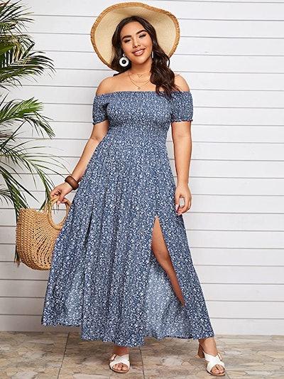 Floerns Off Shoulder A Line Maxi Dress