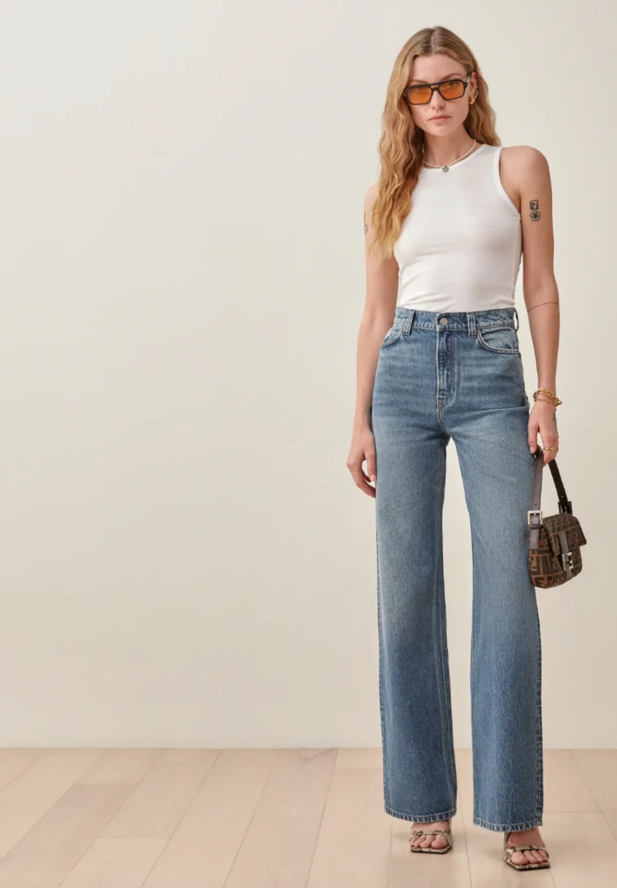 Reformation's Hailey Utility High Rise Wide Leg Jeans in Kama.