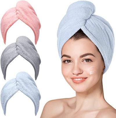 Hicober Microfiber Hair Towel (3-Pack)