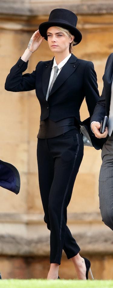 Cara Delevingne in a suit.