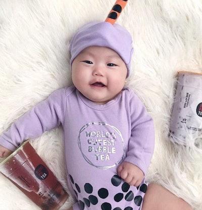Baby dressed as a boba tea