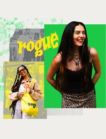 A collage showing Emma Rogue, in green eyeshadow, leaning forward and laughing, over images of her s...