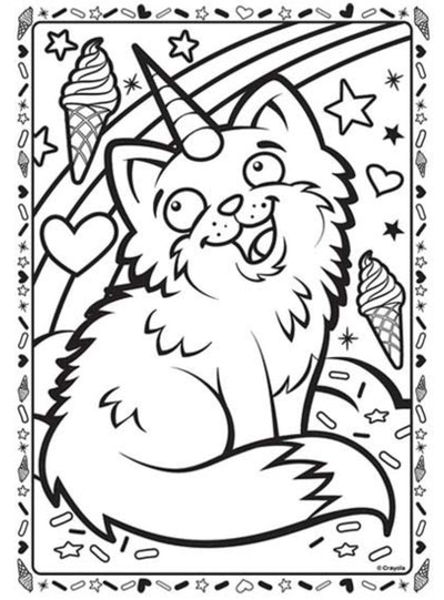 Cat coloring page; can with unicorn horn surrounded by hearts, ice cream, and rainbows