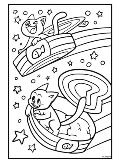 Cat coloring page: cats in flying saucers, flying in the air with rainbows