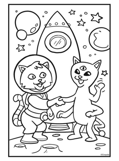Cat coloring page: Cat in space shaking hands with cat-alien with a rocket ship behind them