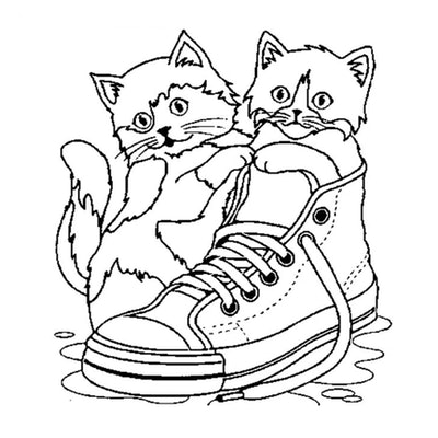 Cat coloring page; two small kittens playing in a high-top sneaker