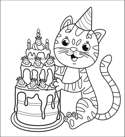 Cat Coloring Page: Cat with a birthday hat on sitting in front of birthday cake