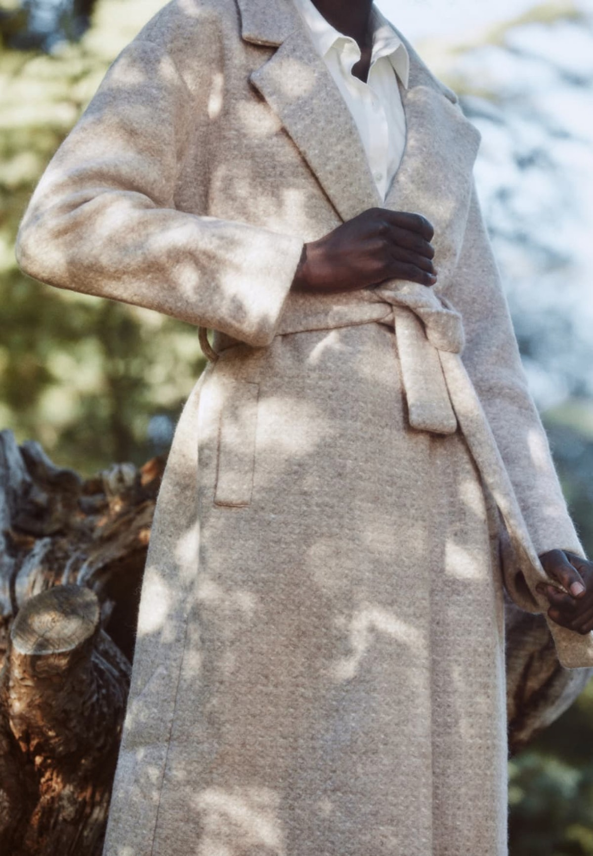 Reformation's Gooding Coat in camel.