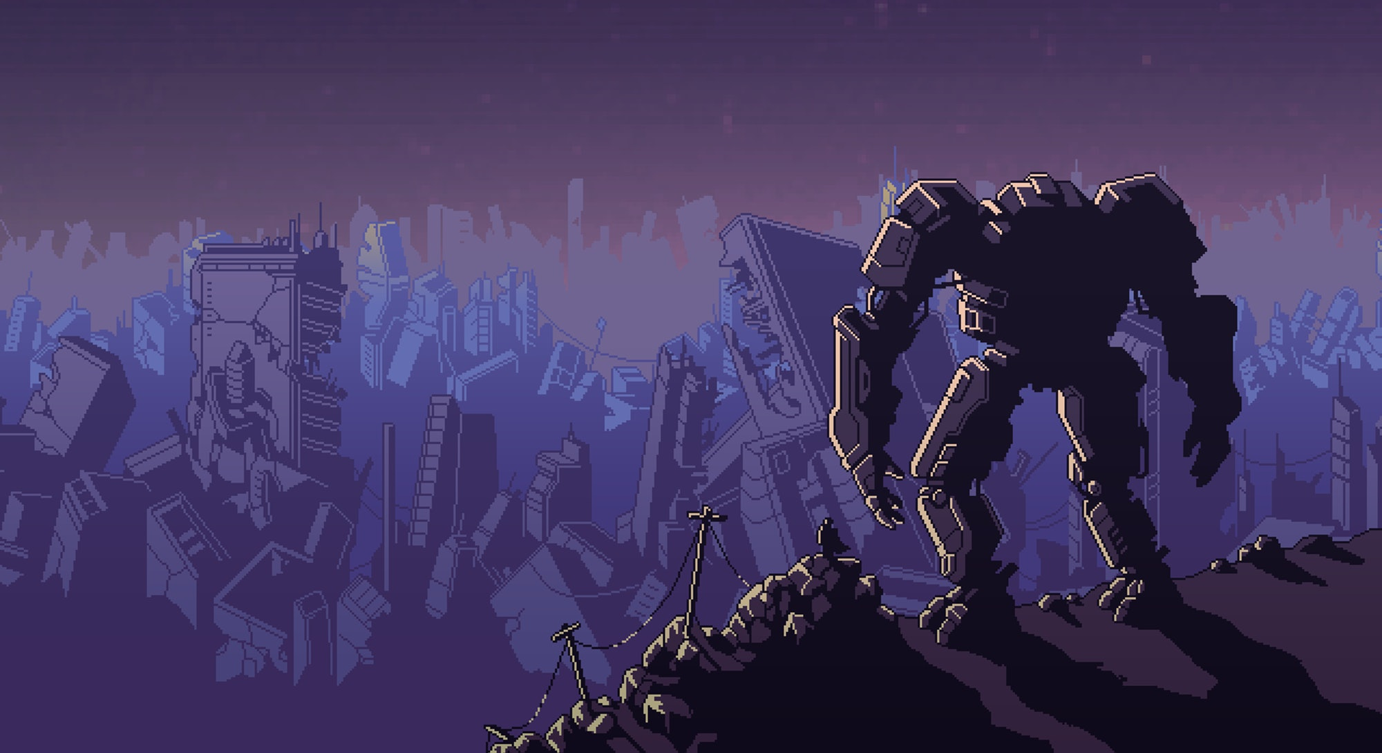 robot in front of ruined city from Into the Breach