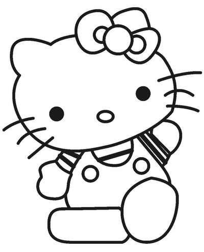 Cat Coloring Page; Hello Kitty cartoon