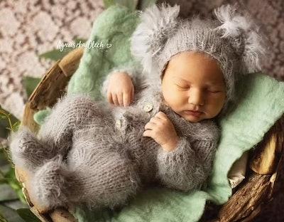 Newborn dressed as a koala