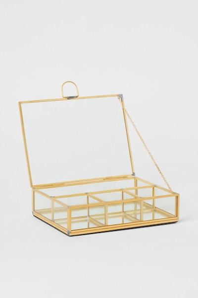 Clear glass jewellery box