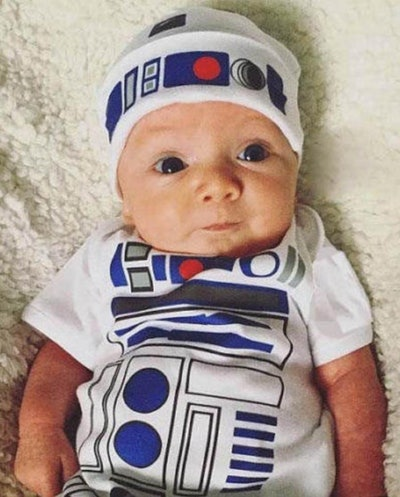 Baby wearing R2D2 onesie