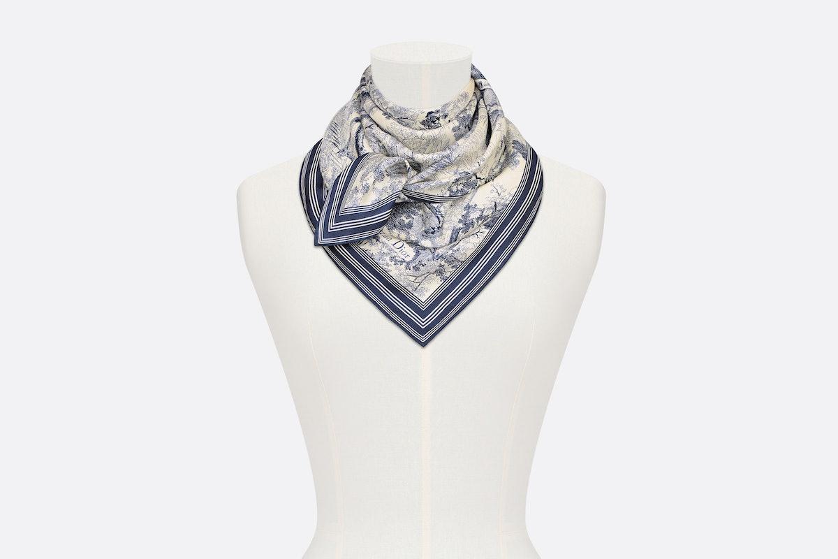 Dior toile de jouy square scarf blue silk twill