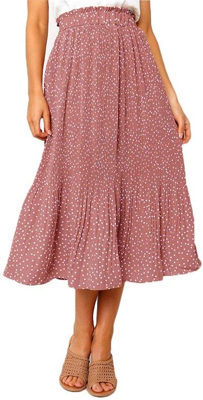 EXLURA High Waisted Pleated Midi Skirt