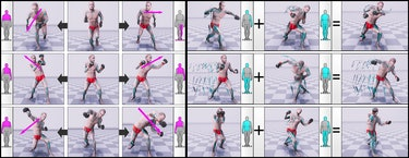 animation layering example using neural network for video games