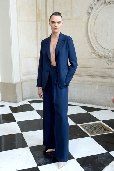 Cara Delevingne, shirtless jacket look.