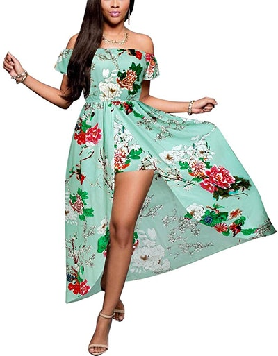 BIUBIU Women's Off Shoulder Floral Rayon Maxi Romper Dress