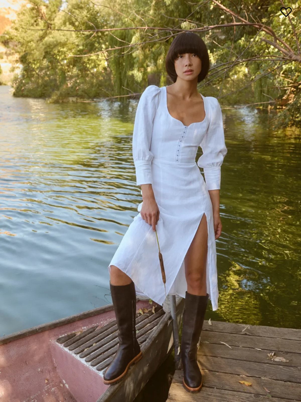 Reformation's Dora dress in a 3/4 sleeve midi linen style.