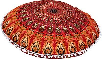 ANJANIYA Peacock Mandala Bohemian Pillow Cover