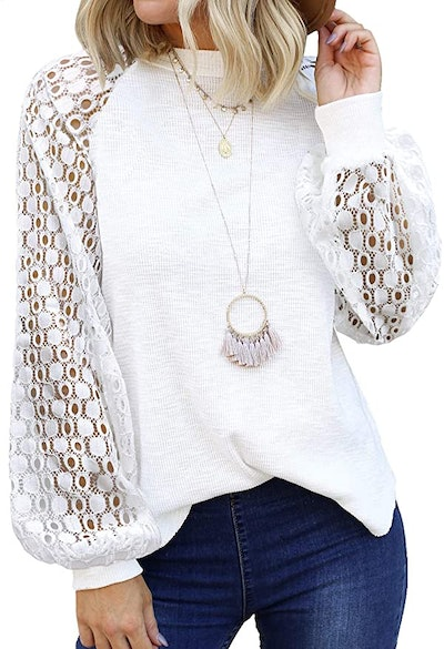 MIHOLL Long Lace Sleeve Top
