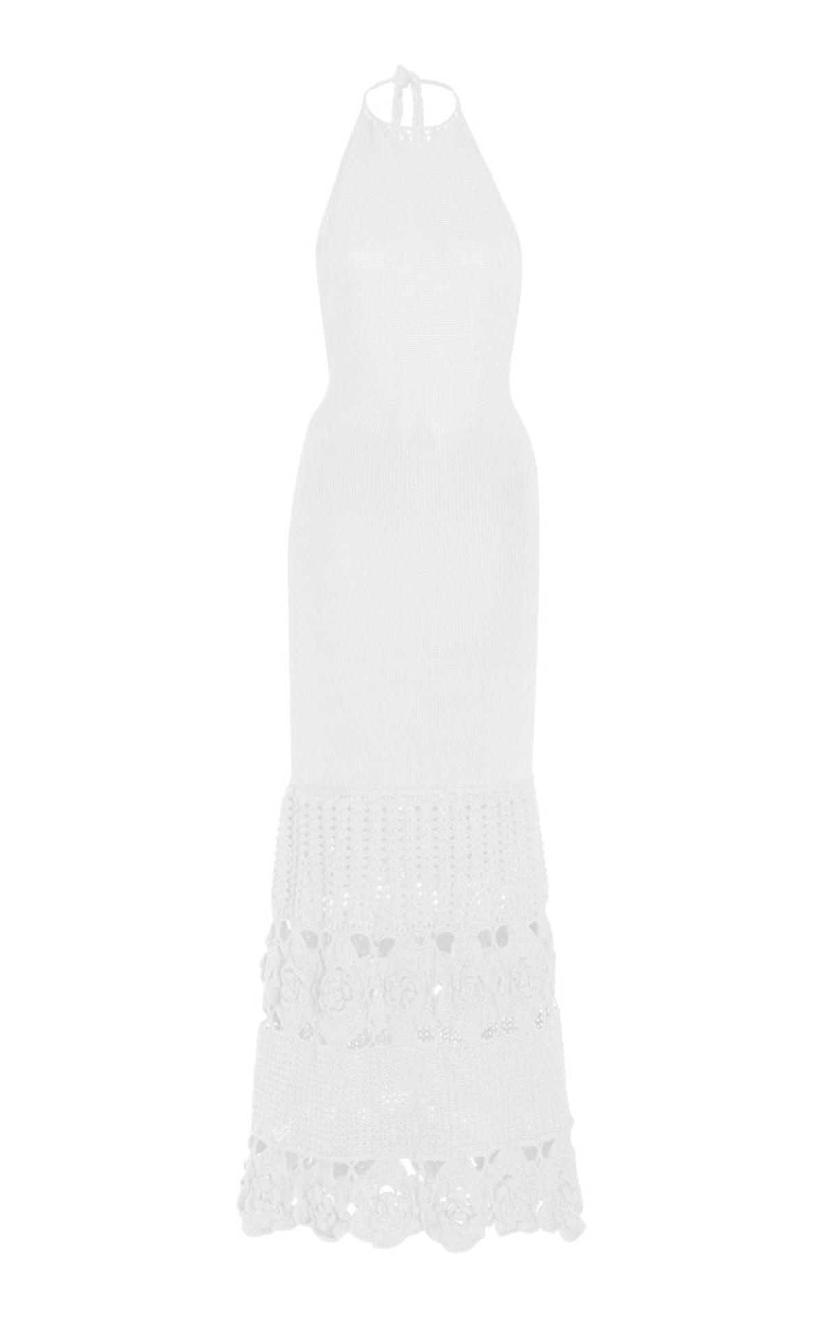 Carina Crochet-Knit Bamboo Maxi Halter Dress from ALEXIS.