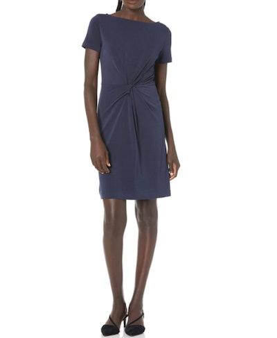 Lark & Ro Crepe Knit Twist Dress