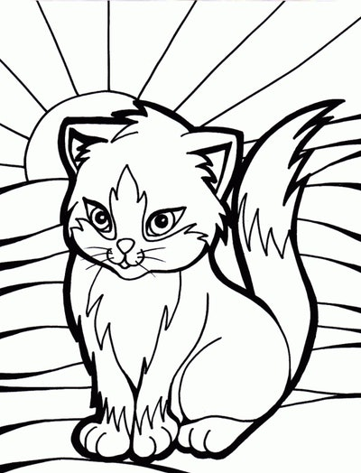 Cat Coloring Page; cat sanding in front of sunshine with rays coming out across the page