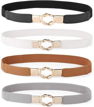 WERFORU Leather Skinny Belt (4-Piece)
