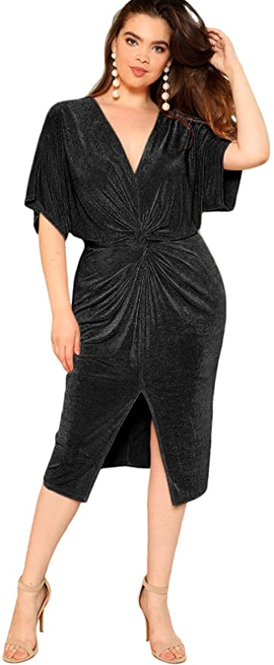 Floerns Short Sleeve Twist Front Midi Dress