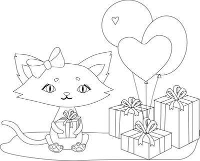 Cat coloring page; cat with presents around it and a bundle of balloons