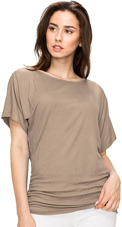 Made By Johnny Boat Neck Side Shirred Tee
