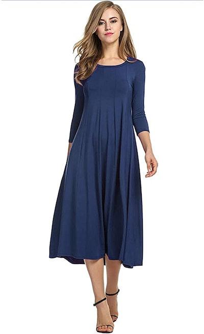 Hotouch 3/4 Sleeve A-line Midi Dress