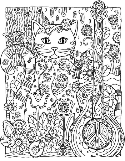 Cat Coloring Page; Adult coloring page of cat with guitar, peace signs, and flowers